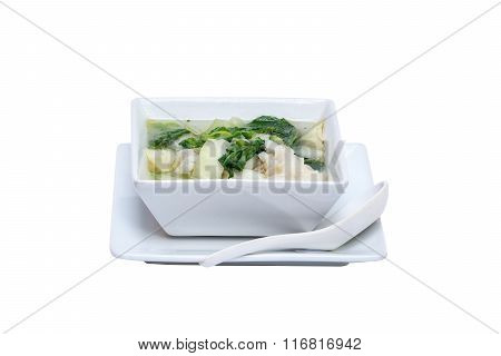 wonton soup chinese vegetables soup dish on white background poster