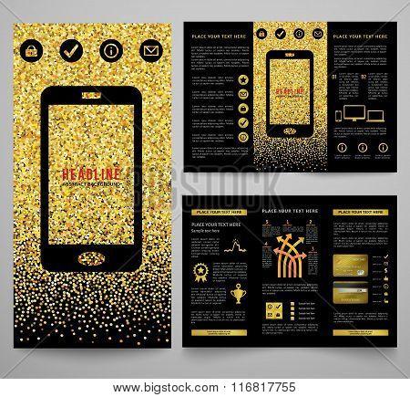 Vector golden elegant business brochure design