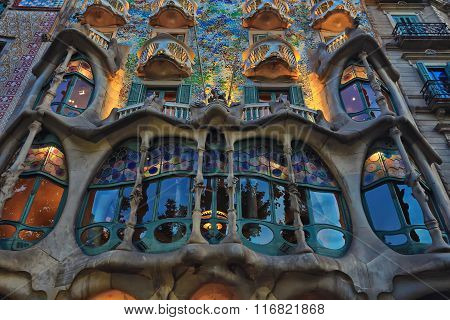 BARCELONA, SPAIN - MAY 10,2014: Gaudi project.The facade of the famous building Casa Battlo