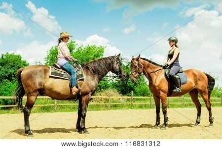Women Cowgirl And Jocket Riding Horse. Activity.