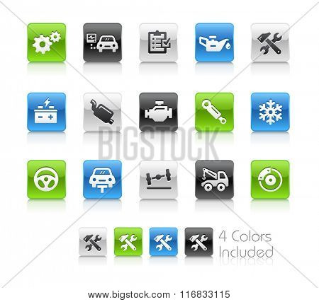 Car Service Icons / The file Includes 4 color versions in different layers.
