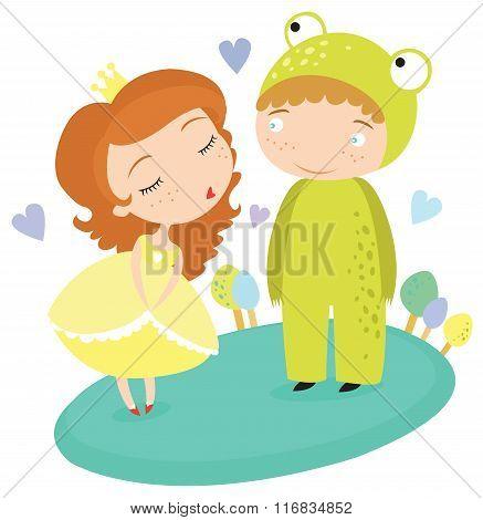Fairytale Princess Kissing Frog Prince