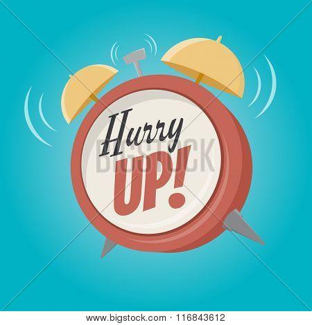 hurry up alarm clock in retro cartoon style