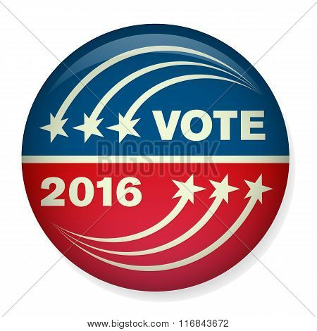 Retro or Vintage Style Vote or Voting Campaign Election Pin Button or Badge.