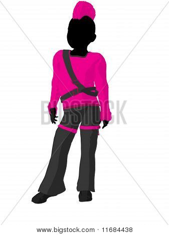 Punker Girl Silhouette Illustration