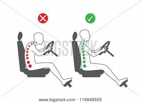 Correct sitting position in driving