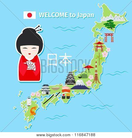 Japan travel map