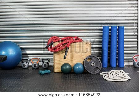 View of fitness equipment at crossfit gym