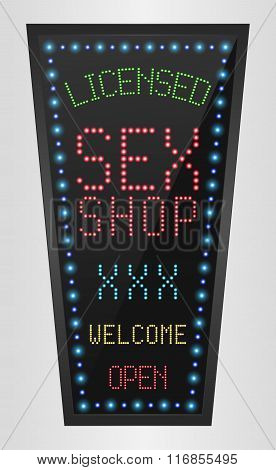 Shining retro light banner Licensed Sex Shop