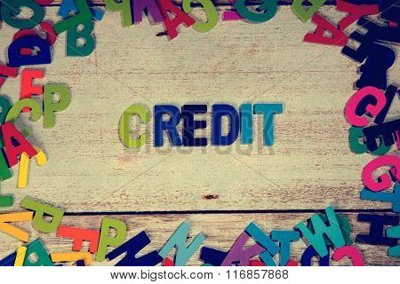 Credit Word Block Concept Photo On Plank Wood
