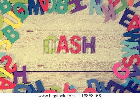 Cash Word Block Concept Photo On Plank Wood