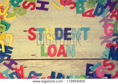 Student Loan Word Block Concept Photo On Plank Wood