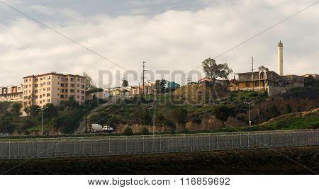 Tijuana Mexico Looking Across Barbed Wire Boundary San Diego California