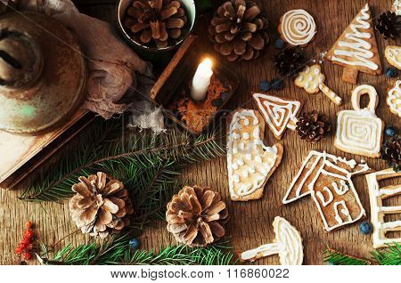 Heap of fresh appetizing oatmeal cookies on wooden background. Crunchy fresh biscuits. Many shortcak