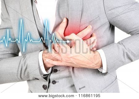 Man having chest pain - heart attack, close up