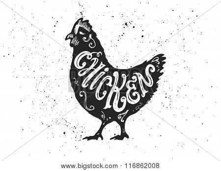 Chicken Letterring In Silhouette.
