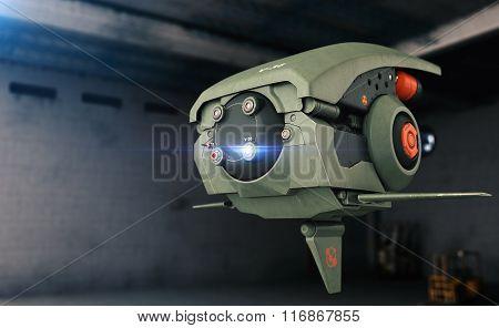 Sci-fi Drone. Hangar