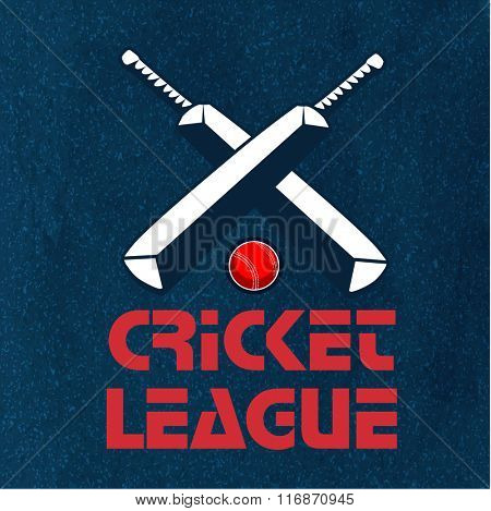 Creative text Cricket League with illustration of bats and ball on stylish background, can be used as poster, banner or flyer design.  poster