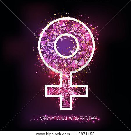 Creative abstract Female Symbol on shiny background for International Women's Day celebration.