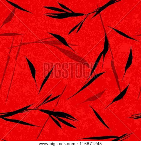 Vector Seamless Pattern. Black Hand Drawn Bamboo Leaves On A Red Background. Asian Sumi-e Style.
