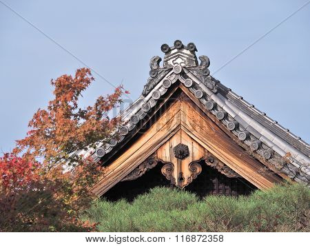 Roof tiles of Eikando temple in Kyoto, Japan.