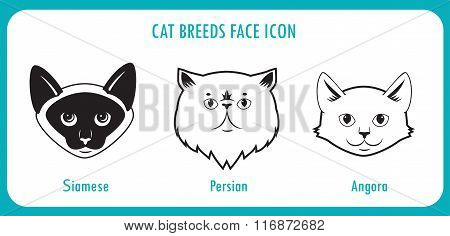 Cat Breeds Face Icons. Angora, Persian, Siamese. Black And White Vector On A White Background. Cat Breeds With Pictures. Cat Breeds Of The World. Cat Breeds With Big Eyes. Breeds For Children, Toy.