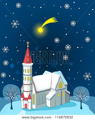 Christian Church And Christmas Star. Winter Landscape. Vector Illustration Card. Christian Church Near Me. Christian Church Architecture.  Christian Church Organization. Christian Church News.