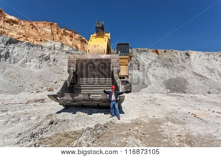 Large Excavator At Open Pit 2