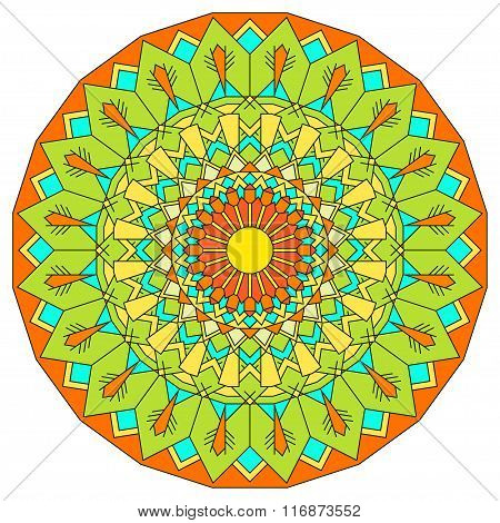 Hand Drawn Ornamental Lace Round Mandala For Use In Design