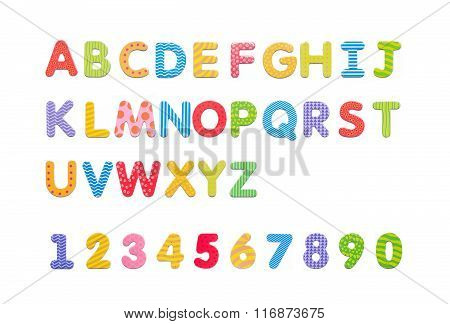 Colorful Paper Alphabet Magnets On A Whiteboard. Letters Set Isolated