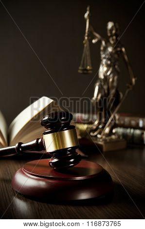 Law Concept With Gavel And Themis In Background