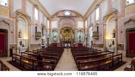 Obidos, Portugal - August, 2015: Interior of the baroque Sao Pedro church. Obidos is a medieval town inside walls, and very popular among tourists.
