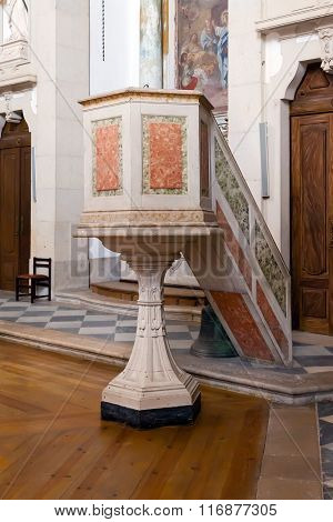 Obidos, Portugal - August, 2015: 18th century pulpit in the Baroque style, inside the church of  the Sanctuary of Senhor do Jesus da Pedra.