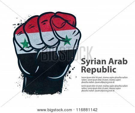 fist.  flag Syria. vector illustration