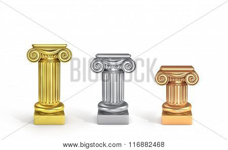 Concept Of Top Places. Set Of Three Pedestals. Gold, Silver And Bronze Columns.