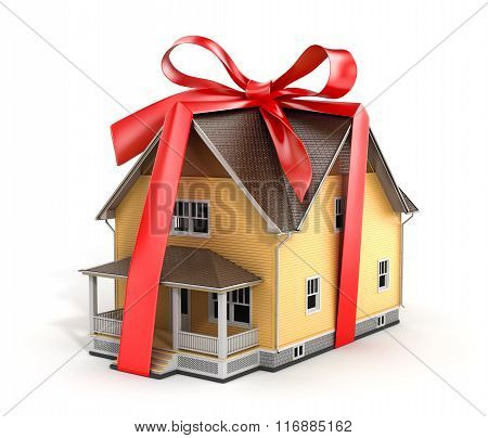 Real Estate Concept. House Architectural Model With Red Bow On A White Background. Concept Of Gift.