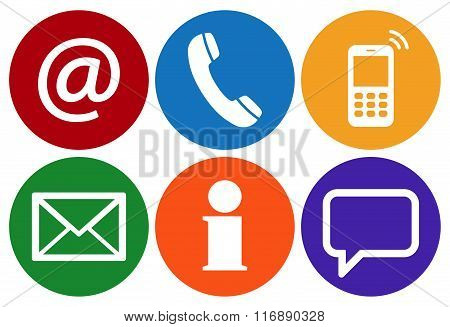 Contact Us Six Icons Set