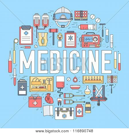 Thin line first medical aid modern illustration concept. Infographic way from medicine chest to equp