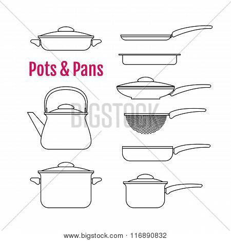 Set Of Silhouettes Utensils. Pots, Pans, Kettle