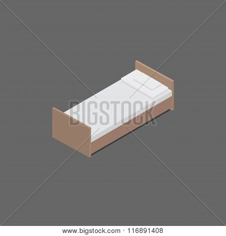 Isometric bed with pillows.