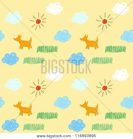 Hand drawn doodle seamless pattern background.