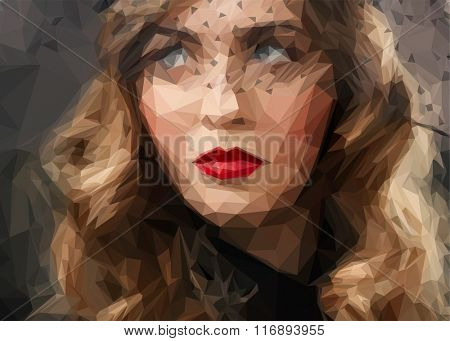 femme fatale, vintage style sensual portrait at veil, triangle low poly vector