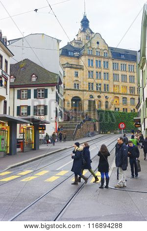 BASEL SWITZERLAND - JANUARY 1 2014: Street view in Old City of Basel. Basel is a third most populous city in Switzerland. It is located on the river Rhine.