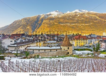 Vineyard and Alps in Chur at sunrise. Chur is the capital of canton Graubunden in Switzerland. It lies in the Alpine Grisonian Rhine valley. The city is the oldest town of Switzerland