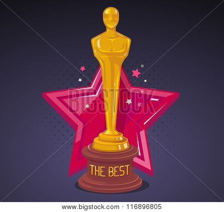 Vector Illustration Of Yellow Cinema Award With Red Big Star On Dark Background.