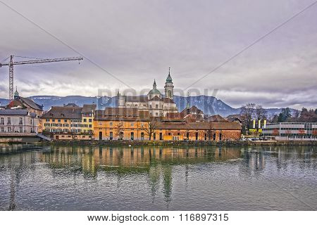 Waterfront With St Ursus Cathedral In Solothurn