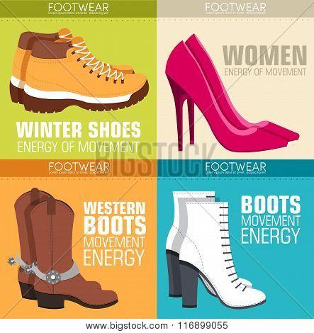 flat illustration set of shoe equpment backgrounds. Vector illustration elements icons. Colorful tem
