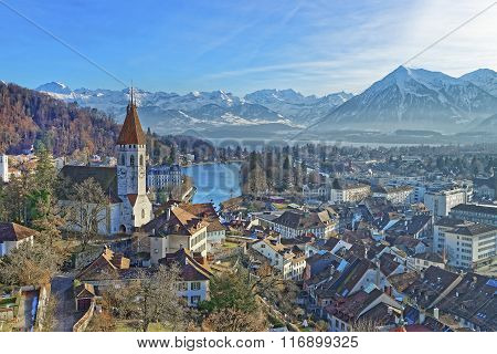 Panorama Of Thun Church And City With Thunersee And Alps