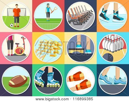 Sport life stile infographic with gym device, equipment and items. Training apparatus on a flat desi