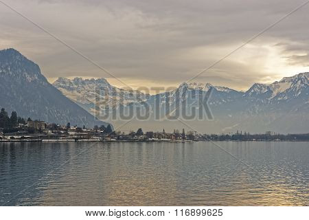 Panoramic View Of Montreux And Lake Geneva At Sunset In Winter
